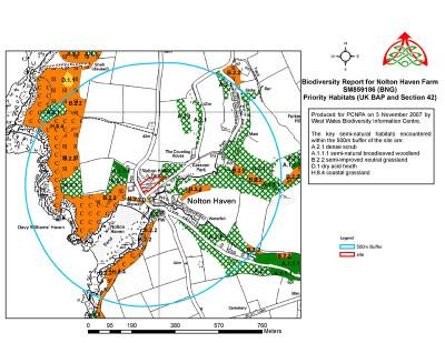 Example report showing priority habitats